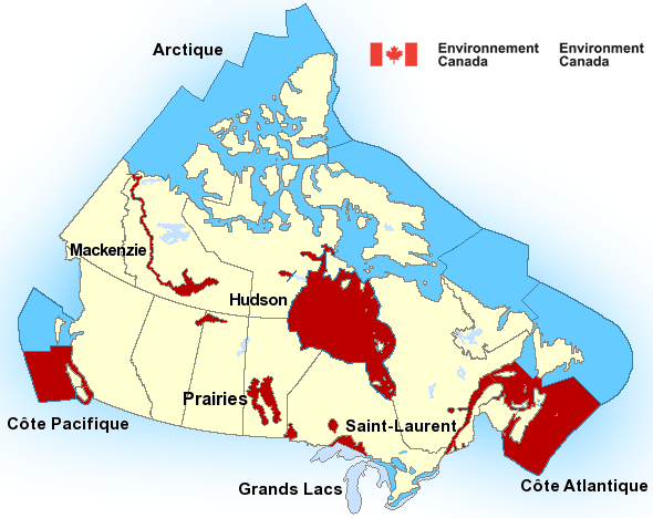 Map with Marine Warnings for Canada