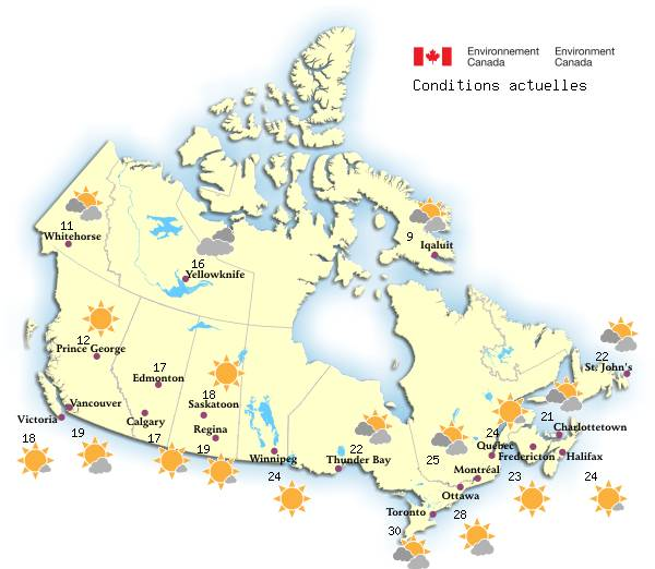 Carte Du Canada Montreal.La Meteo Au Canada Environnement Canada