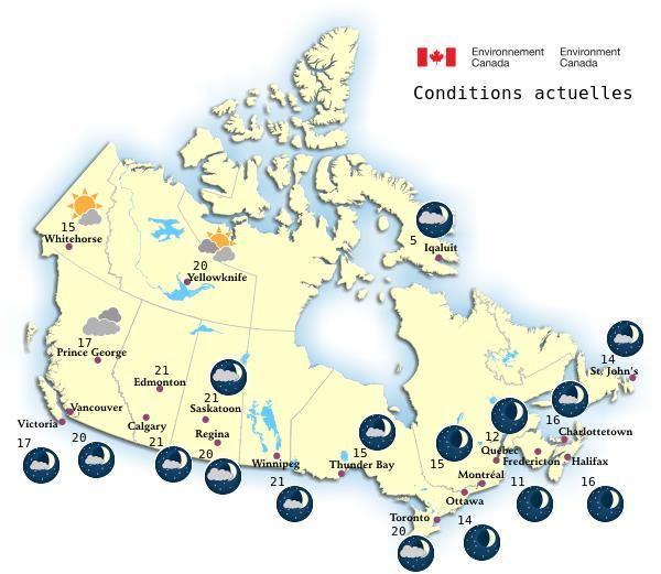 Carte Canada Avec Ville.La Meteo Au Canada Environnement Canada