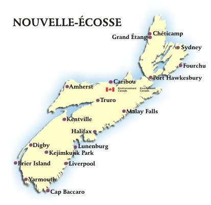 Nouvelle Écosse   Prévisions et conditions par endroits